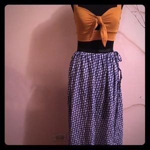 JCrew long cotton blue and white skirt size lg